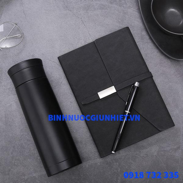 Bộ Gift Set quà tặng bình giữ nhiệt kèm sổ da và bút in theo yêu cầu