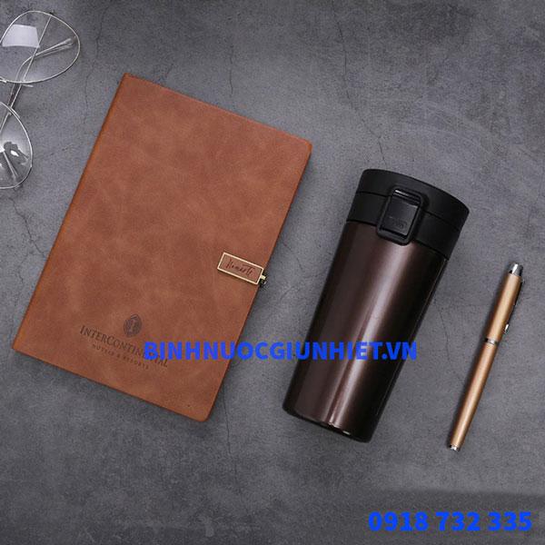 Bộ Gift Set quà tặng gồm cốc giữ nhiệt kèm sổ và bút ký in theo yêu cầu