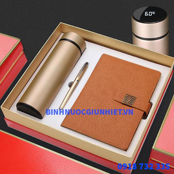 Bộ Gift Set quà tặng bình giữ nhiệt kèm sổ da và bút ký in theo yêu cầu