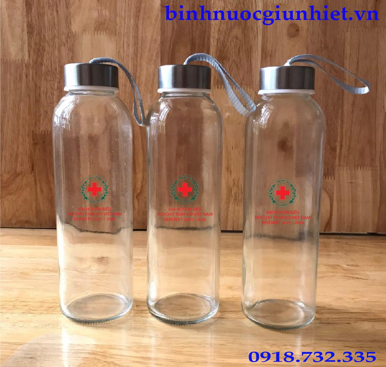 bình thủy tinh in logo hội chữ thập đỏ việt nam