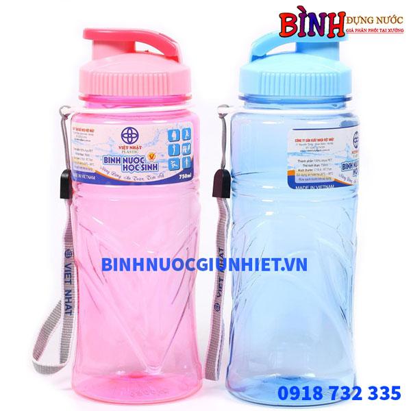 Bình đựng nước học sinh nhựa Việt Nhật dung tích 750ml