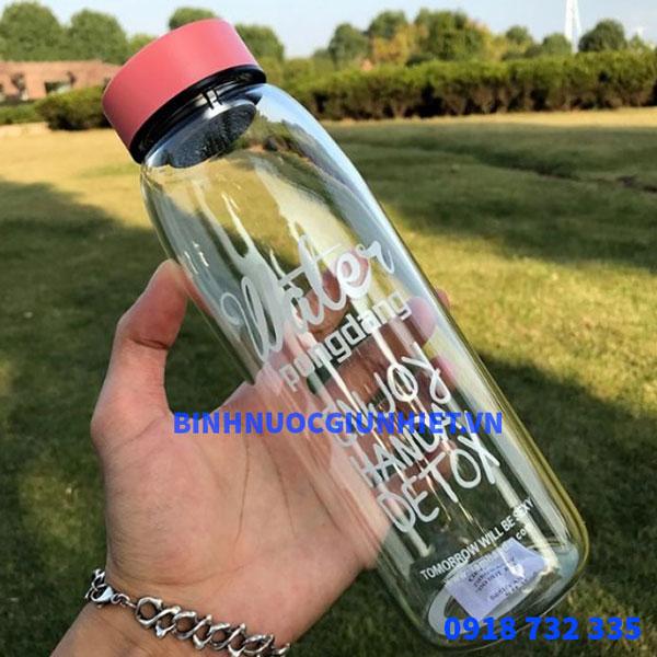 Bình nước thủy tinh in logo làm quà tặng doanh nghiệp